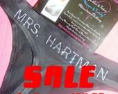 Personalized Bride Thong panties: underwear, bridesmaid, boy shorts, future mrs, white, black, rhinestone, bling, embroidered,