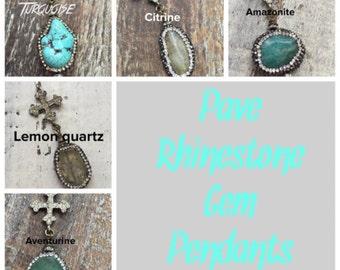 New Natural gemstone embellished with pave rhinestone cross charm dangle