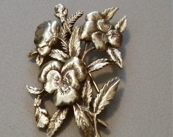 Vintage Shelburne Museum Pansy Brooch Pin Gold Tone Metal Brass