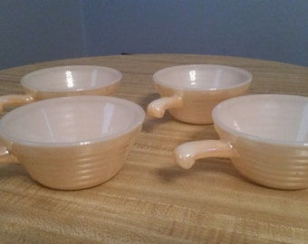 Vintage Lot of 4 Fire King Peah Lusterware Soup Crocks 1950s Iridescent Glass Oven Ware Made in the USA