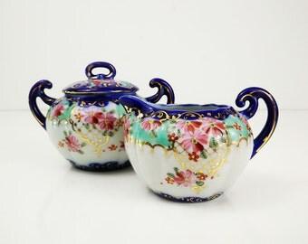 Nippon Porcelain Creamer and Sugar Bowl Set
