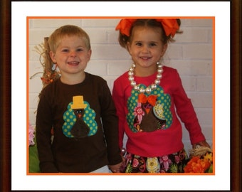 Thanksgiving Shirt for Girl or Boy Minky Turkey ...Toddler Youth Children Sizes