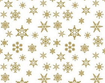 Riley Blake Fabric - 1 Yard of Sparkle Gold Snowflake