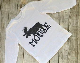 Moose, Shirt, Grey, Navy,  bodysuit, children clothing, baby, tops,shirt