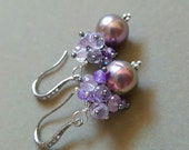 Pearl and Amethyst Drop Earrings on Oxidized Sterling Silver Diamond Like Pave Ear Wires