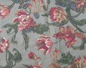 "Large Cotton Floral Fabric Scrap 42"" by 42"" Green Red Beige Sage"