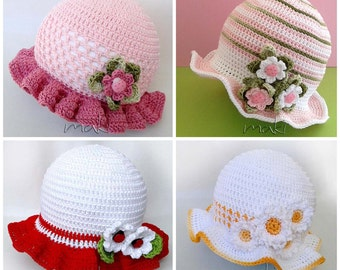 Crochet pattern - 4 baby girl hat patterns! Summer baby hat crochet pattern! Permission to sell finished items.