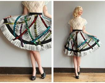 1950s Skirt // Mexican Bamboo Print Circle Skirt // vintage 50s skirt