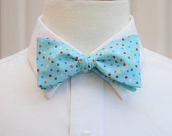 Men's Bow Tie in aqua with multi color confetti  polka dots (self-tie)