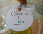 "Custom 2"" Wedding or Anniversary Favor Tags - For Mini Wine or Champagne Bottles - Cheers to Love heart tags - (30) Printed Tags"