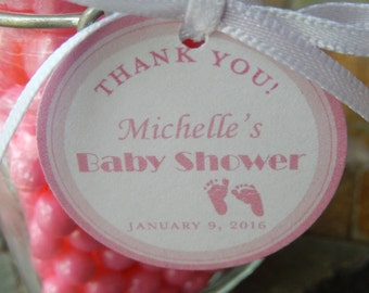 "Baby Shower Thank You Custom Favor Tags - For Cake Pops - Lollipops - Cookies - Shower Favors - Baby Feet - (50) 1.5"" Printed Tags"