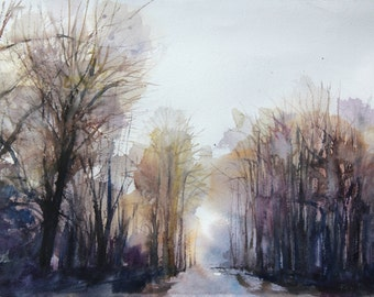 New England Landcape No.160, limited edition of 50 fine art giclee print from my original watercolor