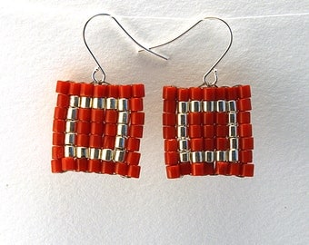 Coral Round Tube with Silver Frame Tube Earrings, Square Earrings, Coral Square Woven Earrings, Peyote Pattern Woven Earrings