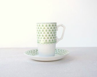 Tall espresso cup and saucer Micratex Ironstone shamrock W Adams & Sons England Irish coffee tea vintage teacups