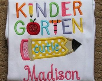 Girls, Back To School, Kindergarten Appliqued Shirt