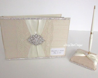Lacey Wedding Guest Book and Pen Set Bling Guest Book - Custom Made