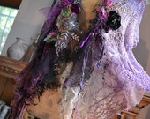 RESERVED Beautiful Unique Art To Wear Hand Dyed Crochet Jacket LILAC TIME Fairy Silk Velvet Twenties Style Gipsy Antoinette Tattered