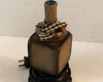 tan and black primitive electric candle lamp table lamp home decor