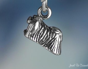 Miniature Sterling Silver Pekingese Charm Dog Small Tiny 3D Solid .925