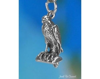 Sterling Silver Falcon Charm Raptor Bird of Prey Peregrine Falcons 925