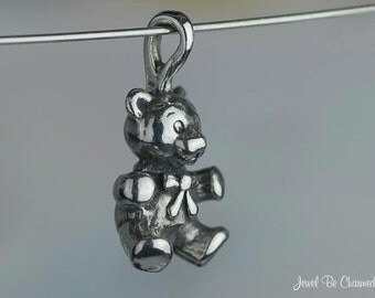 Sterling Silver Teddy Bear CHARM or PENDANT Sweet Teddies 3D Solid 925