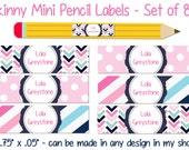 Skinny Pencil Labels Waterproof stickers Waterproof labels Name Label Dishwasher Safe Daycare Label School Label - Lola, 80 piece set