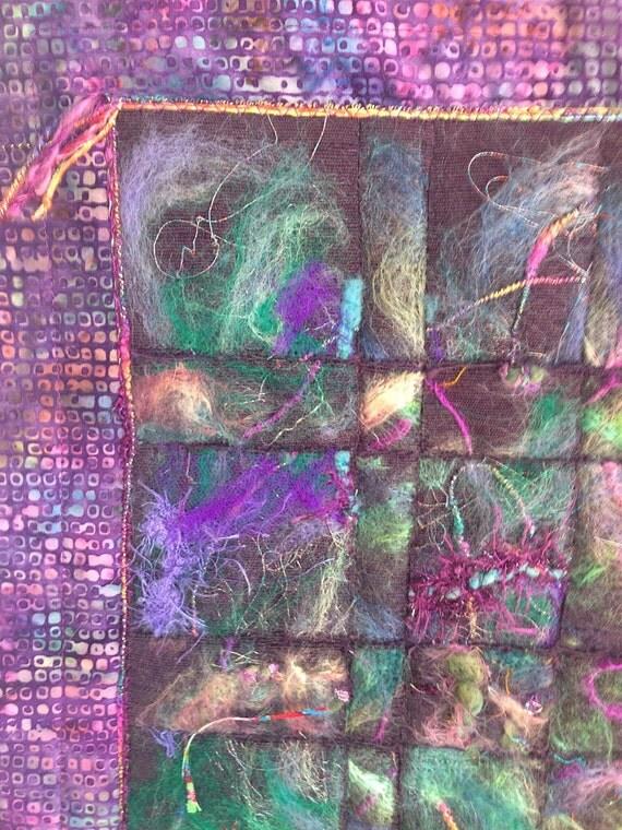 Small Quilt, Fiber Art, Wall Hanging, Needle Felting, Batik Quilt, Purple Impressions, Quiltsy Handmade