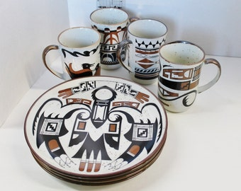 Vintage Southwest Hopi Native American Stoneware Pottery Luncheon Plates and Coffee Cups or Mugs brown and black tribal art classic design