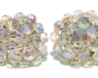 Vintage Cluster Clip On Earrings with Aurora Borealis Glass Beads - Vintage Formal Evening Jewelry