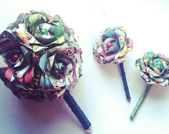 Marvel Inspired Paper Rose Posie Bouquet - Unique Geek Inspired Flowers