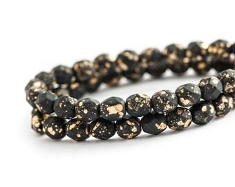 NEW Matte Jet Black Gold Fleck Czech Glass Rounds, Spacer Beads, Fire Polished (6mm) x 25