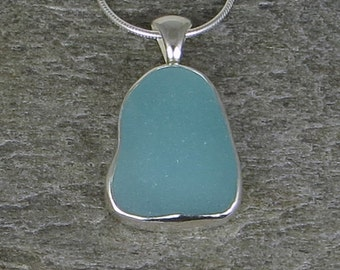 Aqua Sea Glass Bezel Pendant necklace