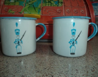 Vinage Enamelware Tin Cups
