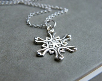 Sale, Sterling Silver Snowflake Necklace, LET IT SNOW Necklace, Silver Snowflake Necklace, Snowflake Pendant, Snow Jewelry, Gift for Girl