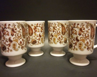 Set of 3 Vintage Retro Brown Paisley Pedestal Footed Cups Mugs Made in Japan