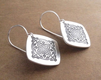 Bold and Beautiful Drop Earrings, Fine Silver, Argentium Sterling Silver Ear Wires, Ready To Ship