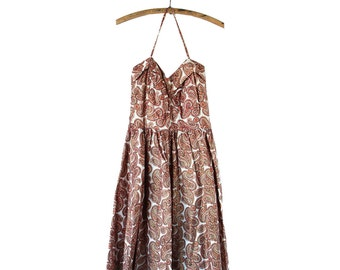 Handmade Vintage Paisley Halter 1950s Dress - Medium