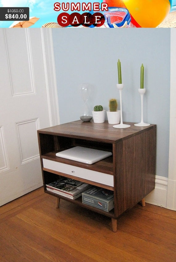 Limited Discount Mid Century Solid Walnut Bedside Storage Cabinet With Drawer Free Shipping and Delivery