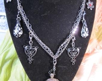 Black Rose Charm Necklace