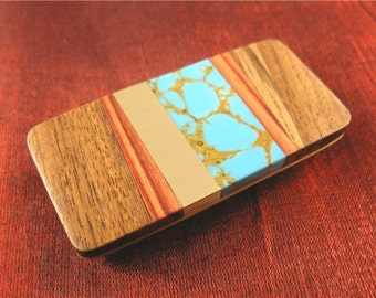 Father Gift Turquoise and Wood Money Clip - Gift for Father Birthday, Son Gift MC223