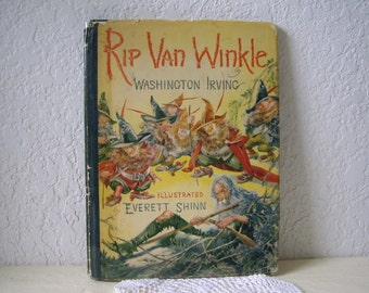 Rip van Winkle book with color copy of rare Everett Shinn sketch of Old  Rip tipped in, 1st ed, 1939 with RARE dust jacket