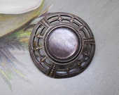 Large Open Work Dome-Shaped Metal Button w/ Mother of Pearl