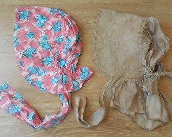 4 Vintage Flour Sack Sun or Garden Bonnets Hats