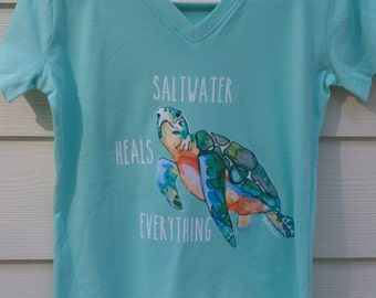 Saltwater Heals Everything Sea Turtle Ladies V Neck Tshirt - Shelling Life&trade - Beachwear - Ladies Wear - FREE SHIPPING in US