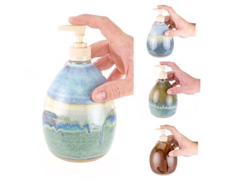 Hand Thrown Stoneware Soap Pump- your choice of Glaze / pottery soap dispenser / ceramic soap pump / soap bottle / MADE TO ORDER (6 weeks)