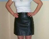70s/80s Black Leather Mini Skirt XS