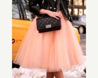 Light Peach Tulle Tutu Skirt, Adult, Women