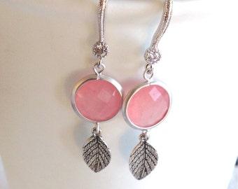 Coral Drop earrings, Drop earrings, Pink coral earrings, Bridesmaid Coral earrings, Bridesmaid earrings, wedding jewelry, leaf earrings