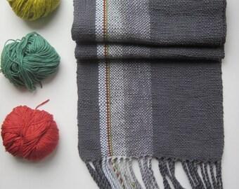 Grey Mens Handwoven Scarf, Subtle Color Rastafarian Color line