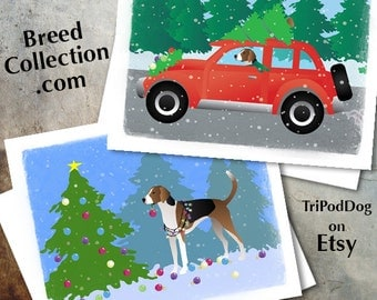 American Foxhound Dog Christmas Cards from the Breed Collection - Digital Download  Printable